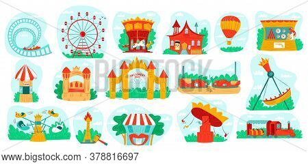 Amusement Park With Carousel Vector Illustration Set. Cartoon Flat Fun Carnival Fair Icons With Roll