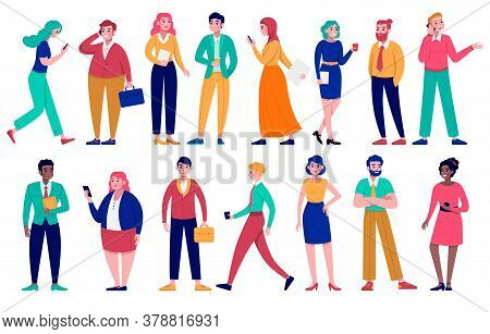 Diverse Group Of Business People Vector Illustration Set. Cartoon Flat Man Woman Businessperson Char