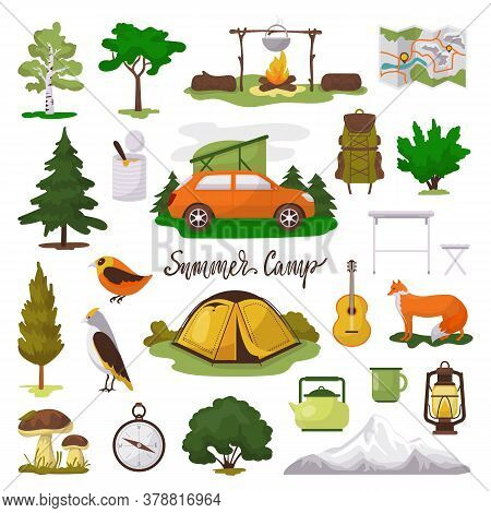 Camp Adventure Vector Illustration Icons Set. Cartoon Flat Tourist Camping Equipment, Map, Tent And