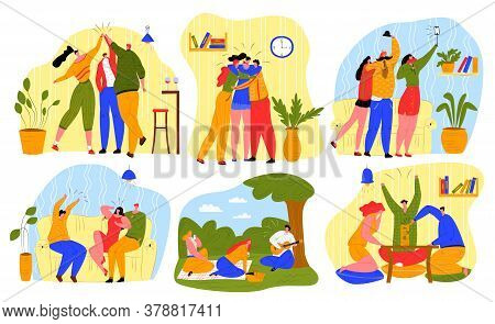 Friends Spend Time Together Vector Illustration Set. Cartoon Flat Happy Man Woman Young Characters,