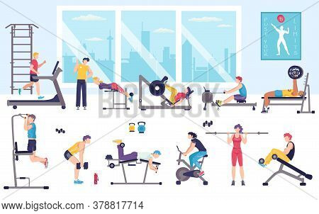 People Workout In Gym Vector Illustration. Cartoon Flat Man Woman Characters Doing Sport Exercises W