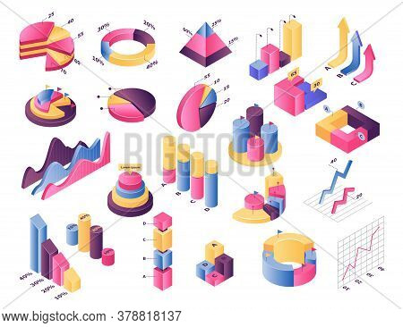 Isometric Graph Chart Vector Illustration Set. 3d Infographic Elements, Diagram Bar With Stats Perce