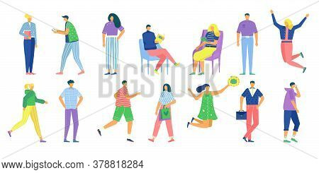 Casual Man Woman Vector Illustration Set. Cartoon Flat Faceless People In Casual Clothes Outfit Stan