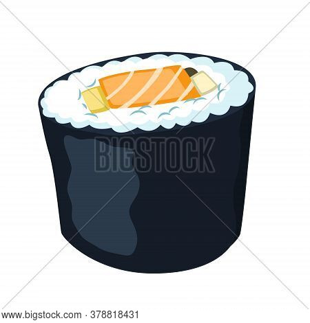 Sushi Maki With Salmon. Japanese Traditional Food. Vector Flat Icon. Isolated On White Background Wi