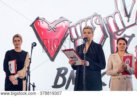Minsk, Belarus - July 30, 2020: Maria Kolesnikova gives speech at Svetlana Tikhanovskaya (the main opposition candidate for upcoming presidential elections in Belarus) rally in Minsk.