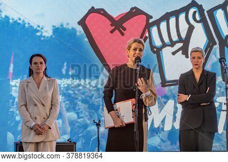 Minsk, Belarus - July 30, 2020: Veronika Tsepkalo gives speech at Svetlana Tikhanovskaya (the main opposition candidate for upcoming presidential elections in Belarus) rally in Minsk.