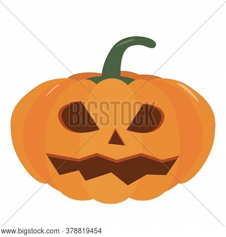 Pumpkin Halloween Holiday. Isolated Vector Sign Symbol. Halloween Pumpkin, Funny Face. Autumn Holida