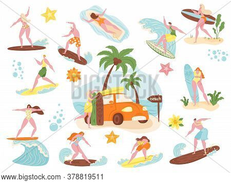 Surfers, Beach People Surf Vector Illustration Set. Cartoon Flat Active Man Woman Character Swimming