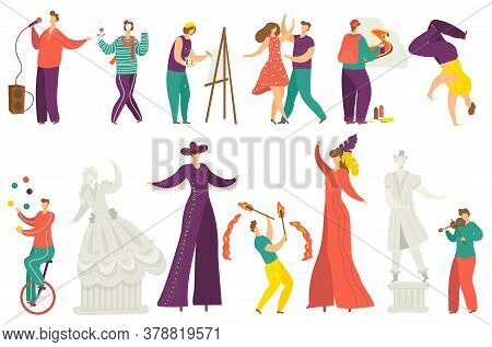Street Artist Vector Illustration Set. Cartoon Flat Active Artist Characters Performing Show, Acroba