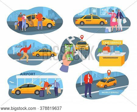 Taxi Car Driver And Service Icons Set With Transport, People Using Taxicab And Taxi System Elements