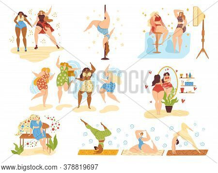 Body Positive Happy Girls, Beautiful Overweight Women Plus Size Isolated On White Vector Illustratio