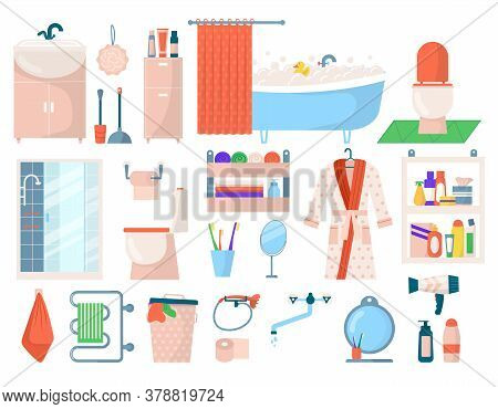 Bathroom Hygiene Accessories, Bath Personal Care Spa Elements Set Isolated On White Vector Illustrat
