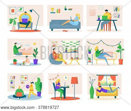 Freelance Work At Home, Set Of Man Woman Freelancers With Homework Laptop, Tablet, Table Computer Wo