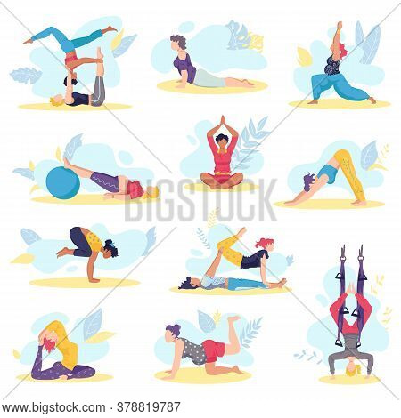 Yoga Girl Exersices And Body Health Poses Fitness And Health Training Set Of Flat Isolated Vector Il