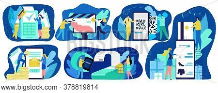 Online Payments Concept Vector Illustration Set, Paying Methods, Credit Card With Website, Nfc Techn