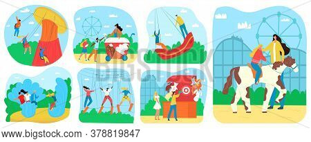 Amusement Park For Kids Fun And Recreation, Attractions Set Of Vector Illustrations. Children Ride O