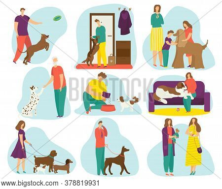 Dogs Owners Set Of Flat Vector Illustration, Happy People Having Fun With Pets, Man And Women Traini