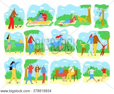 People Outdoor In Park, Men, Women And Families In Summer Park Activities Walking, Doing Yoga Excers