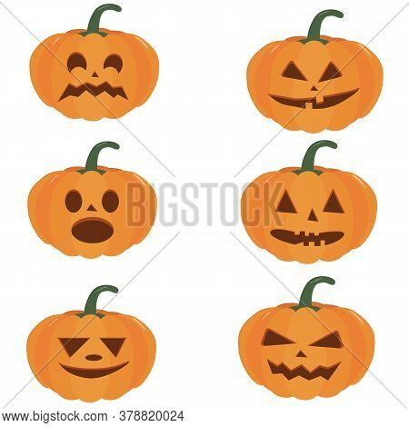 Pumpkin Halloween Holiday. Set Of Halloween Pumpkins, Funny Faces. Isolated Vector Sign Symbol. Web