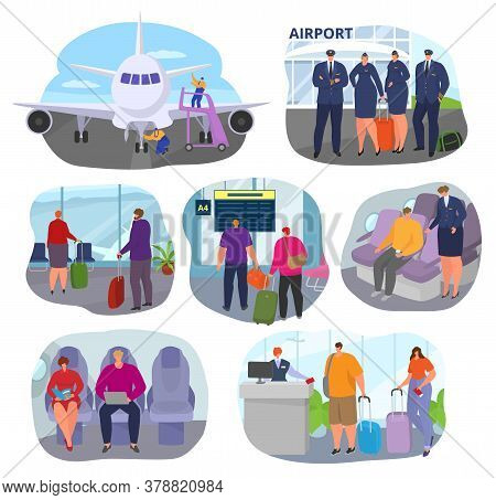 People In Airport Travel To Vacation With Suitcases, Couples With Baggage In Departure Or Arrival Se