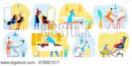 Beauty Salon Womans Services Vector Illustrations Set. Hairdressing, Massage, Stylist Making Female