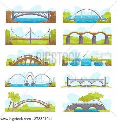 Bridges Icons Set Of Urban And Suspension Structure Isolated Vector Illustrations. Bridged Urban Cro