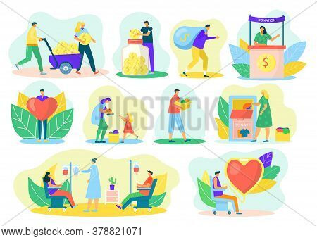 Charity Donation Set Of Help And Care Of Volunteers Service, Vector Illustrations. Donate Social Cen
