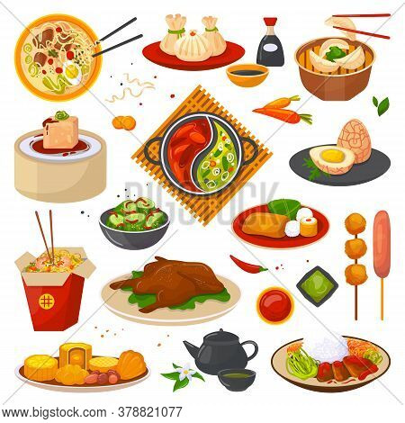 Chinese Food Or Oriental Asian Cuisine Set Of Isolated Vector Illustrations. Chinese Food Meal, Box,