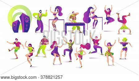 Set Of Dancing People Isolated On White Vector Illustrations. Young People, Dj And Dance, Dancers Po
