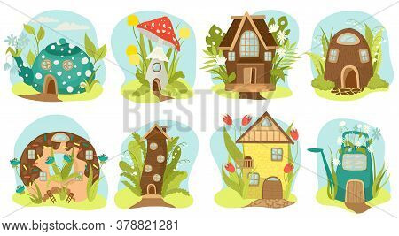 Fantasy Houses Set, Fairy-tale Houses Isolated Vector Illustrations. Fairy Treehouse And Magic Housi