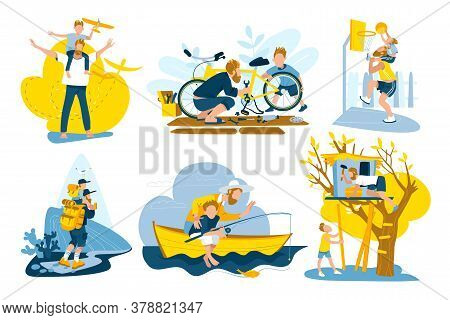 Father And Son Spending Time Together Set Of Vector Illustrations. Father And Son Playing, Fishing,