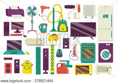 Home Appliance, Household Equipment Icons Set Of Isolated On White Vector Illustrations. Domestic Ap