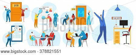 Job Interview, Hiring And Recruitment Flat Set Of Isolated Vector Illustrations. Hiring Process With