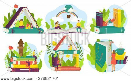 Reading Books Concept, Set Of Tiny People Readers With Huge Books Piled Up Vector Illustrations Flat