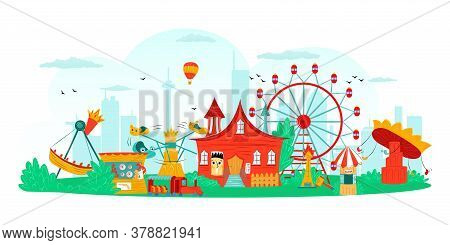 Amusement Park With Carousel And Ferris Wheel, Fun Festival And Entertainment, Attraction Symbols Is