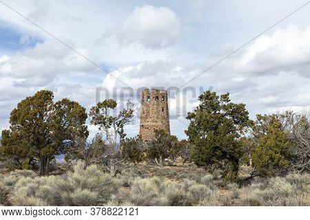 Old Watch Tower At Grand Canyon National Park, Arizona, Usa