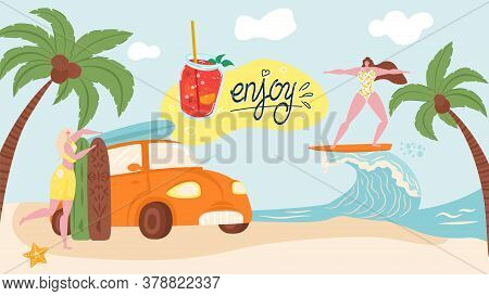 Enjoy Summer Vacation On Sea Beach, Holiday And Travel Banner Vector Illustration. Beach With Palms