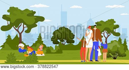 Family Together Walking Outdoor In City Park And Picnic, Eating, Having Fun Together, Vacation And L
