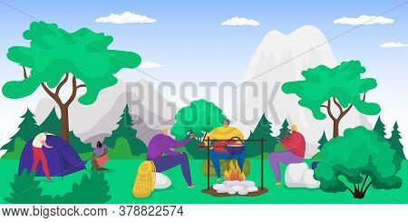 Forest Picnic With Campfire, People Eating On Nature On Vacation, Tourism In Summer, Hiking With Ten