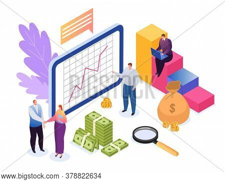 Investment Concept Of Finances Flat Vector Illustration. Development, Data Research Financial Growth