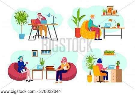 Office People, Business At Work , Man And Woman Working On Computer Programmer, Business Analysis, D