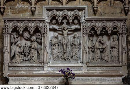 Brussels , Belgium - August 23 2018. Relief Sculpture Of Jesus Christ Brussels Church Interior