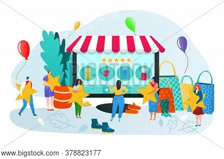 Online Store Rating And Feedback, Customer Reviews Vector Illustration. E Commerce, Online Shopping