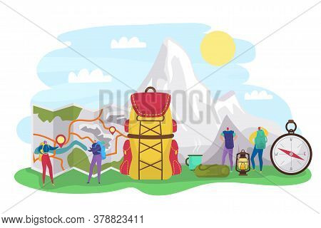 Summer Hiking, Tourists Tiny People With Backpacks And Travel Vacation In Mountains, Expedition And
