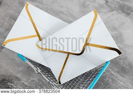 Email Marketing And Promoting Online Sales Concept, Group Of Email Envelope Icons Inside Shopping Ba