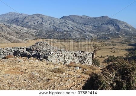Psiloritis mountain and the Nida plateau at Crete island in Greece poster
