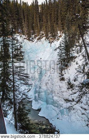 Path To Johnston Waterfall In Banff Park, Alberta, Canada