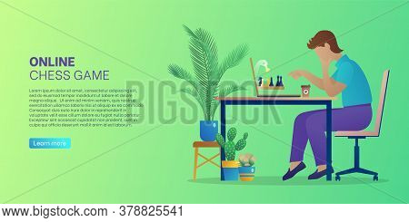 Online Chess Game Web Banner. Man Sitting In Front Of Computer Screen Playing Strategic Intellectual