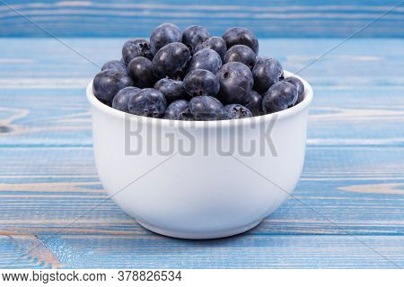 Fresh Ripe Blueberries Containing Natural Minerals And Vitamin, Healthy Dessert Concept