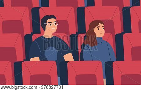 Young Spectator Couple, Friends Watch Film At Empty Cinema Auditorium, Hall. Man And Woman Spend Tim